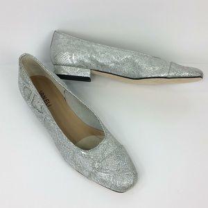 NWOT VanEli silver faux snakeskin slipon flats-10M